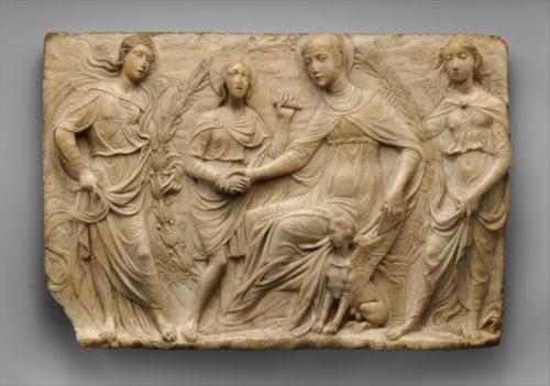 7- Agostino di Duccio Florence1418 Perouseapres1481- Sainte Brigitte recoit la regle de son ordre  New York the Metropolitan Museum of Art-jpg