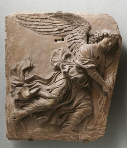 8- Andrea del Verrocchio et atelier- Deux anges volants vers 1480 musee du Louvre- D- des Sculptures  RMN Grand Palais Musee du Louvre Rene-Gabriel Ojeda-jpg